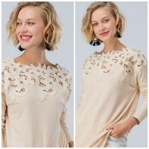 Cream Floral Lace Shoulder Top